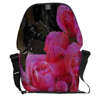Bright Pink Roses Painted Messenger Bag