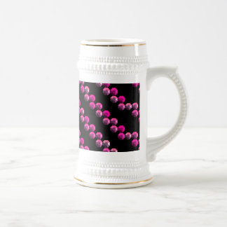 Bright Pink Sequin Stripes On Black Beer Stein