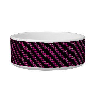 Bright Pink Sequin Stripes On Black Cat Bowl