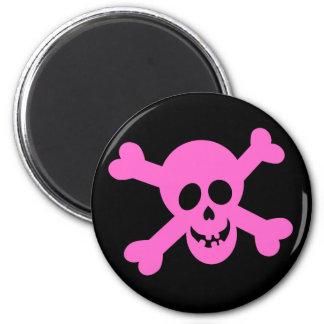 Bright Pink Skull & Crossbones Refrigerator Magnets