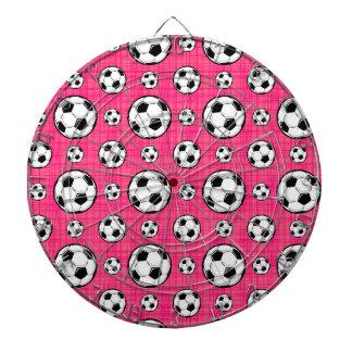 Bright Pink Soccer Ball Pattern Dartboard With Darts