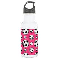 Bright Pink Soccer Ball Pattern Water Bottle