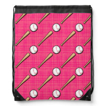 Bright Pink Softball Sports Pattern Drawstring Backpack