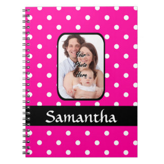 Bright pink spoty pattern photo template notebook