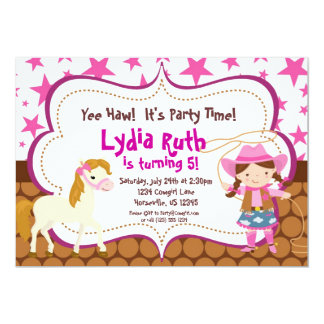 Bright Pink Star Cowgirl and Horse Birthday Party Card
