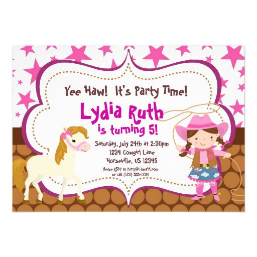 Personalized cowgirl birthday invitations custominvitations4u bright pink star cowgirl and horse birthday party personalized invite filmwisefo