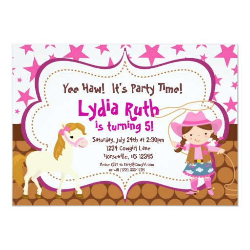 Bright Pink Star Cowgirl and Horse Birthday Party 5x7 Paper Invitation Card