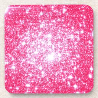 Bright Pink Stars Beverage Coaster