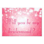 Bright Pink   Stars Will You Be My Bridesmaid 5x7 Paper Invitation Card