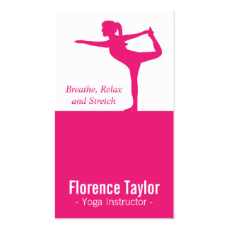 Bright Pink Stretch Silhouette for Yoga Instructor Double-Sided Standard Business Cards (Pack Of 100)
