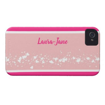 Bright pink stripe, white hearts on dusty pink Case-Mate iPhone 4 case