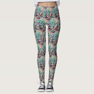 Bright pink-tipped mint green cacti photo leggings