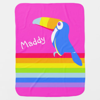 Bright pink toucan bird rainbow name blanket receiving blanket