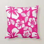 Bright Pink Tropical Hibiscus Flowers Pillow