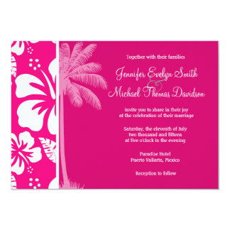 Bright Pink Tropical Hibiscus Invitations