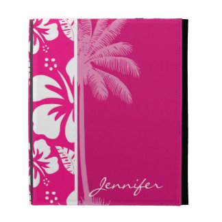 Bright Pink Tropical Hibiscus iPad Folio Covers