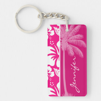 Bright Pink Tropical Hibiscus Rectangle Acrylic Key Chain