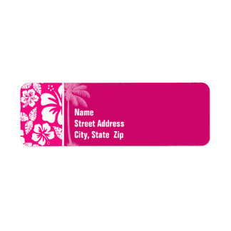 Bright Pink Tropical Hibiscus Label