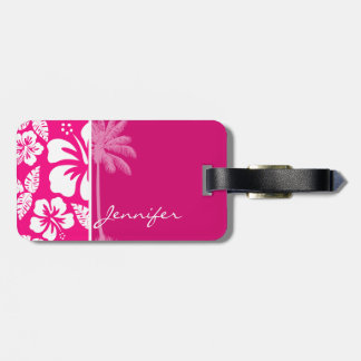 Bright Pink Tropical Hibiscus Tags For Luggage
