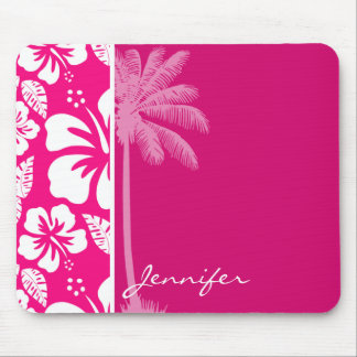 Bright Pink Tropical Hibiscus Mouse Pad