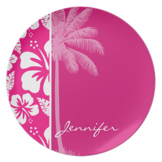 Bright Pink Tropical Hibiscus Plates