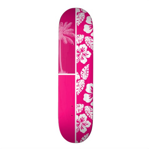 Bright Pink Tropical Hibiscus Skate Board Deck