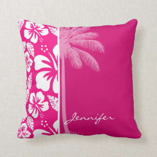 Bright Pink Tropical Hibiscus Throw Pillow