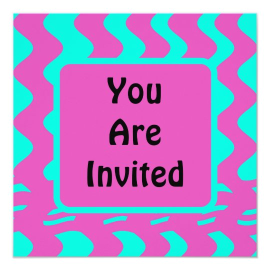 bright pink tuquoise party card