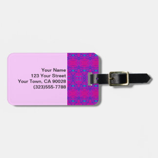 Bright pink turquoise abstract pattern luggage tag