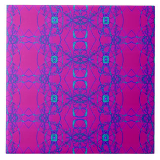 bright pink turquoise chain pattern ceramic tile