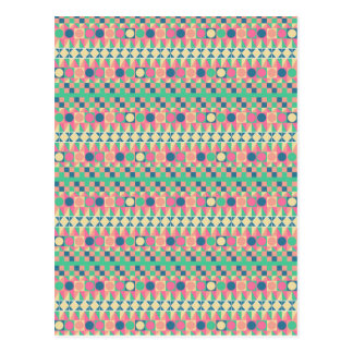 Bright Pink Turquoise Geometric Pattern Postcard
