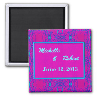 Bright pink turquoise pattern Wedding 2 Inch Square Magnet