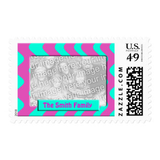 bright pink turquoise photo frame postage