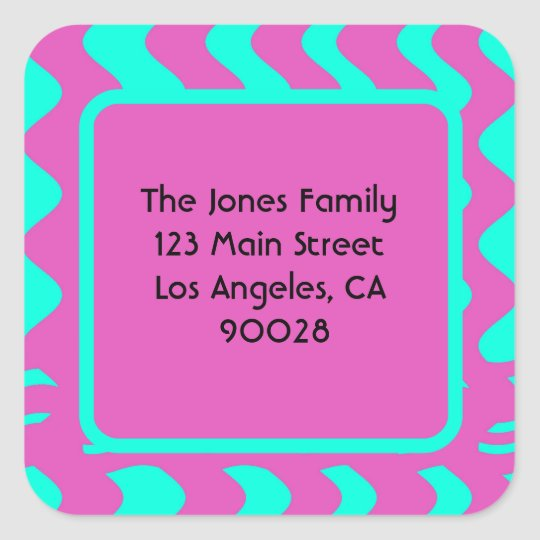 bright pink turquoise stripes square sticker