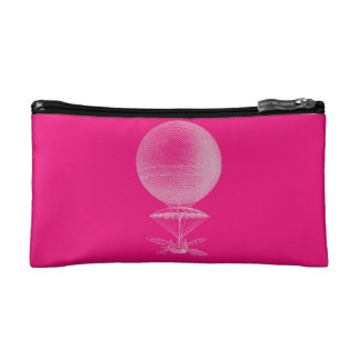 Bright pink vintage balloon cosmetic bags