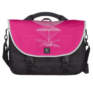 Bright pink vintage balloon laptop messenger bag