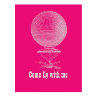 Bright pink vintage balloon postcard