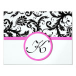 Bright Pink Vintage Damask Swirl Wedding RSVP Invites