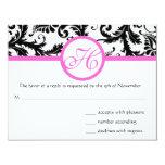 Bright Pink Vintage Damask Swirl Wedding RSVP Custom Invitation