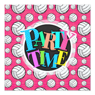 Bright Pink Volleyball Pattern Card