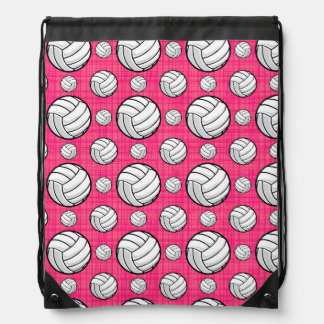Bright Pink Volleyball Pattern Drawstring Bag