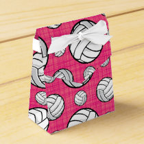 Bright Pink Volleyball Pattern Favor Box