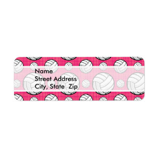 Bright Pink Volleyball Pattern Label
