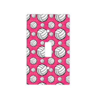 Beach Themed Bright Pink Volleyball Pattern Light Switch Cover