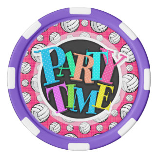 Bright Pink Volleyball Pattern Poker Chips