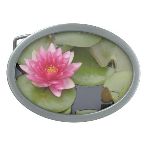Bright Pink Water Lily Flower Belt Buckle