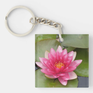 Bright Pink Water Lily Flower Double-Sided Square Acrylic Keychain