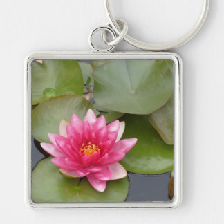 Bright Pink Water Lily Flower Keychain