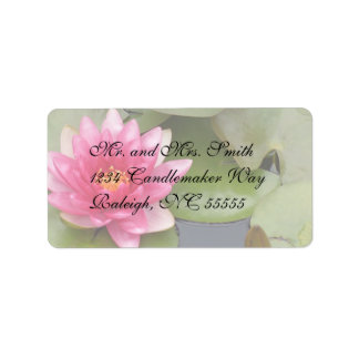 Bright Pink Water Lily Flower Label