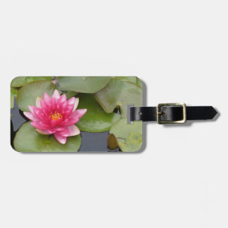 Bright Pink Water Lily Flower Luggage Tag